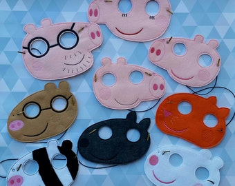 Peppa Family and Friends Dress Up Mask, Costume, Cosplay, Party Favor - Ready to Ship