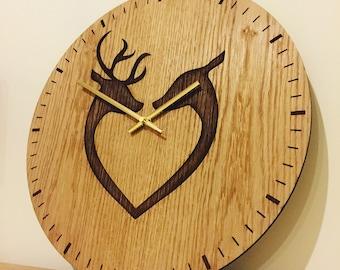 Deer wall art clock - large unique wall clock deer gift