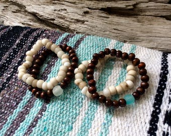 Rustic Sepia Wood w/ Recycled Glass + Old White Padre Bead Stack