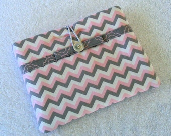 "CLEARANCE - Kindle Fire / IPad Mini / Nook Sleeve / Cover / Case, Pink, Grey and White Chevron, Clutch Style, 7 1/2""x 6"""