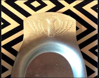 Kensington Aluminum Mid Century Petite Bread Tray with Pineapple Etching