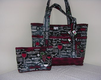 Wine Glass Burgendy Quilted Tote Bag, Med
