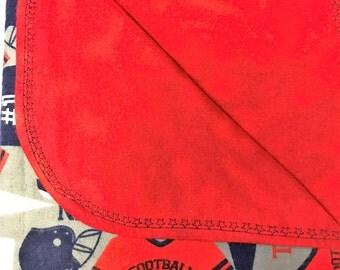 Reversible Blanket - Receiving Blanket - Football Blanket - Baby Blanket - Item # 116