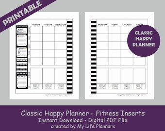 CLASSIC Fitness Happy Planner Inserts, Printable Happy Planner Fitness Inserts, MAMBI Classic Fitness Happy Planner Inserts, PDF Download
