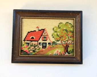 Summer needlepoint wall art vintage 1970s