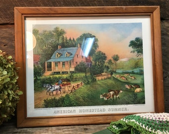 Vintage Currier & Ives Picture/American Homestead Summer/Lithograph/Wooden Frame