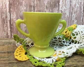 Hazel Atlas Sugar Bowl-Chartreuse Yellow-Milk Glass-Platonite Moderntone