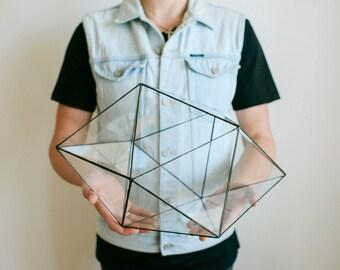 Glass geometric terrarium - Handmade Geometric Terrarium - Glass Dodecahedron - Glass Planter- Home decor - Wedding table decor