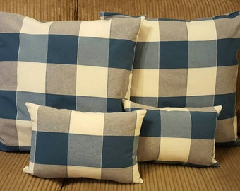 "Blue & Grey checkered 19"" cushion set"