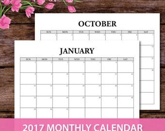 2017 calendar template, 2017 Monthly Planner, 2017 Printable Calendar, 2017 agenda, a5 calendar, a5 planner binder, A5 inserts, A4 printable