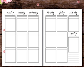 Blank Planner Boxes, Week On Two Pages, WO2P, Weekly Planner, Filofax a5, Kikki K Large, Filofax A4, A5/A4/US Letter Planner Insert