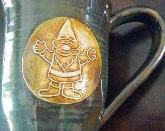 Garden gnome mug, large 16 ounce handmade ceramic mug for coffee or tea, #90