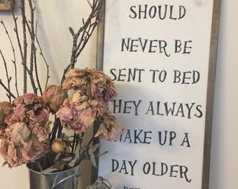 Little Boys Should Never Be Sent To Bed   Peter Pan   Framed Sign   Nursery Decor