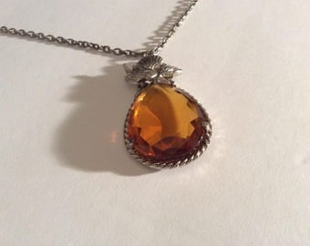Amber Coloured Thistle Necklace