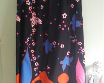 60s mod psychedelic vintage maxi skirt