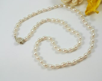 White Freshwater Pearl & Sterling Silver Knotted Necklace