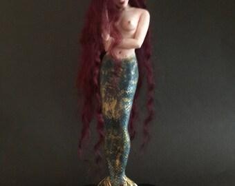 "ooak fantasy art doll fairy mermaid, fae, sculpture, nautical, home decor, decorative figurine ""Nerei"""