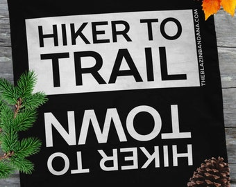 Hiker Bandana - Black - For Thru Hiking AT (Appalachian Trail), PCT, CDT Lightweight Outdoor Hiker to Town Hiker to Trail Bandanna