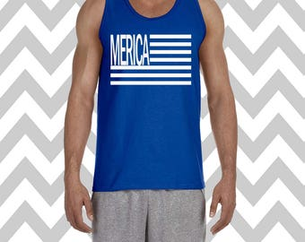 Merica Mens Tank Top Summer Tank Flag Fourth of July Tank Top Country American Flag Independence Day Lake Tank Drinking Tank 'Merica