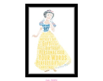 PERSONALISED Snow White Word Art Wall Print Gift Idea Birthday For Her Daughter Mum Nan And The Seven Dwarves Huntsman Grumpy Dopey PG0054