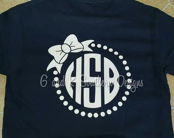 Monogrammed shirt with bow