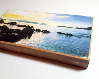 Alaska sunset, Handmade reclaimed wood art, home decor, Alaskan photography on salvaged wood