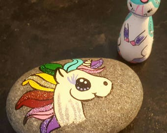 Unicorn peg doll and stone