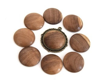 1 round cabochon in olive wood handmade (handmade product) 25mm ref CB201601 LOT 3