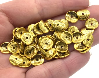 Beads spacers washers wavy gold metal 9mm PO05 - batch of: 20 / 30 / 50 units