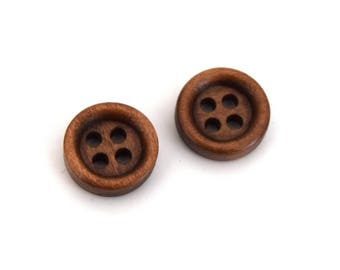 Buttons in wood 4 Brown holes sewing DIY round 11mm-31 batch of 20, 30, 40, 50 units