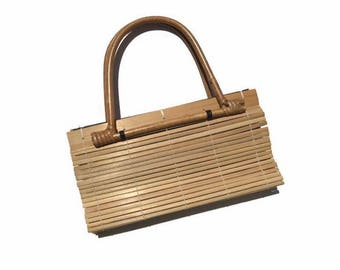 Vintage bamboo style purse / summer bag / wooden bag / small size