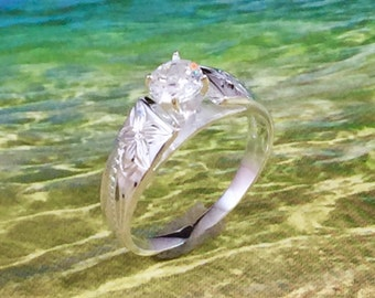 Sterling Silver Hawaiian Plumeria and Scroll with 0.5 ct. CZ Ring (R520)