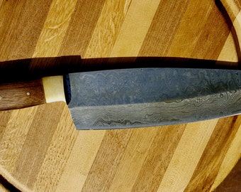 Damascus Steel Pro Chef Knife, High Carbon Steel, Walnut Handle, Precision Forged, Kitchen Knife