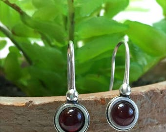 Garnet Earrings, Sterling Silver Earrings, Dainty Earrings, Red Earrings, Oxidized Earrings, Drop Earrings, January Birthstone Earrings