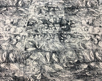 Intricate Abstract Drawings In Charcoal Gray On White 100% Mid-Weight Linen, Made In Italy