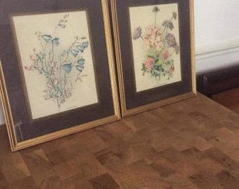 2 Signed Prints by K G Floral Flowers
