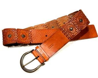 VINTAGE: Rare Ralph Lauren Designer Wide Leather Belt - Stamped Tooled Leather - Boho Belt - LRL Belt - Ralph Lauren - SKU  19-E1-00008548