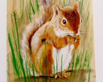 Hand painted squirrel, rustic, nature, any age, any room, bushy and furry, cheerful, natural colors, browns and greens