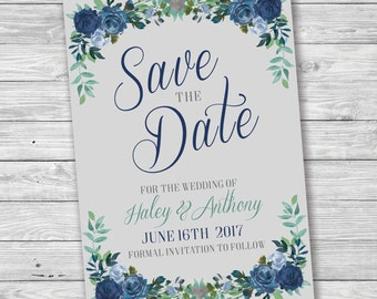 Rose Floral Save the Date, Flower Save the Date, Blue and Grey, Flower Border Save Date, Printable Save the Date, Rose Save the Date, Heart