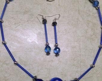 Elegant Royal Blue Glass Bead Necklace Set