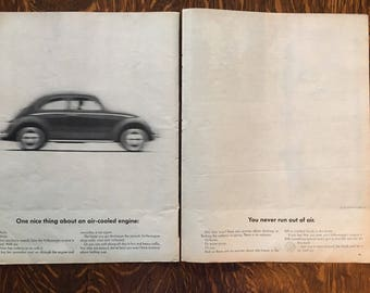 Two page VW Beetle Ad from 1962 LIFE magazine