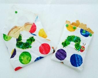 Custom Made- Reusable Sandwich bag Set- Reusable Snack bag- Green Living-Reusable Sandwich bags-Water resistant Lining- Zero Waste