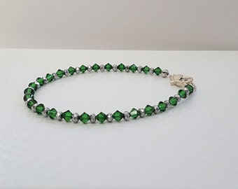Green and Silver Swarovski Bracelet