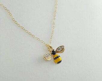 Bee Necklace, Bumble Bee, Honey Bee, Tiny Bee, Cute Bee Necklace, Black and Yellow Bee Necklace, Rhinestone Bee Necklace, Bee Jewelry