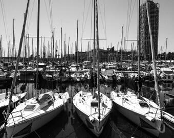 Black + White Sail Boats