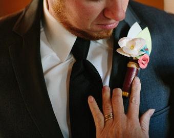 Custom Paper Flower and Shotgun Shell Boutineer (Boutonniere)