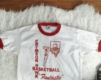 VTG Embroidered 80's Ringer T