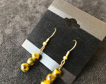 Black Spotted Yellow Sphere Earrings