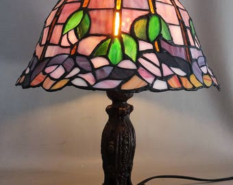Tiffany style glass table lamp with a bronzed metal foot - house decoration gift for woman mothersday gift