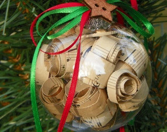 Rolled Sheet Music Christmas Ornament